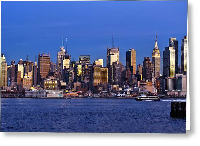 D700 Greeting Cards - NY Skyline at Twilight Greeting Card by Mitchell R Grosky