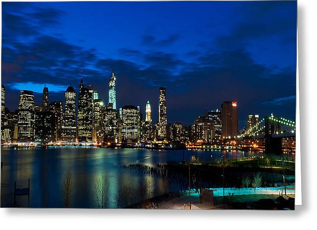 Ny Skyline From Brooklyn Heights Promenade Greeting Card by Mitchell R Grosky