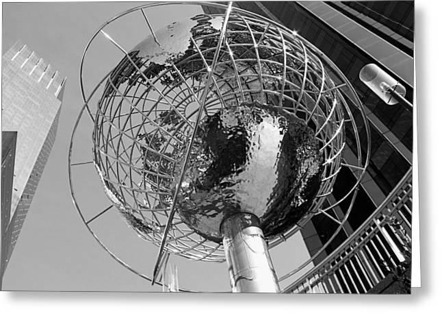 Rockefellar Greeting Cards - NY Steel Globe BW Greeting Card by Jenny Hudson
