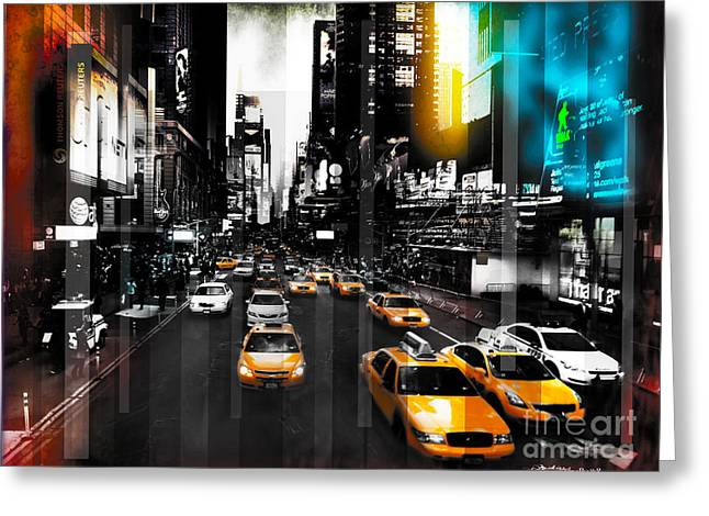 Intrigue Mixed Media Greeting Cards - Ny Streets Greeting Card by Christine Mayfield