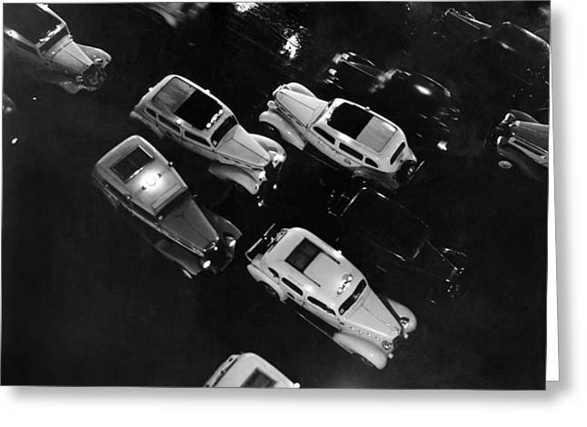 Description Greeting Cards - NY Taxis On A Rainy Night Greeting Card by Underwood Archives