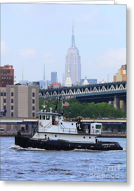 Hudson River Tugboat Greeting Cards - NY Tugboat Greeting Card by Steven Baier