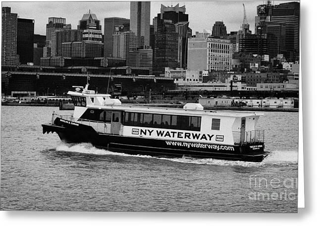 Manhaten Greeting Cards - NY waterway ferry Douglas B Gurian from new jersey to new york city Greeting Card by Joe Fox