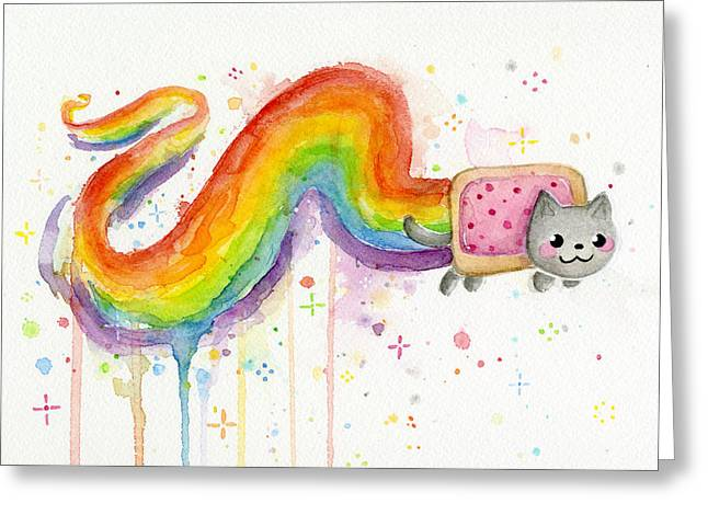 Cat Print Greeting Cards - Nyan Cat Watercolor Greeting Card by Olga Shvartsur