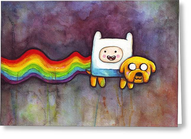 Cartoon Greeting Cards - Nyan Time Greeting Card by Olga Shvartsur