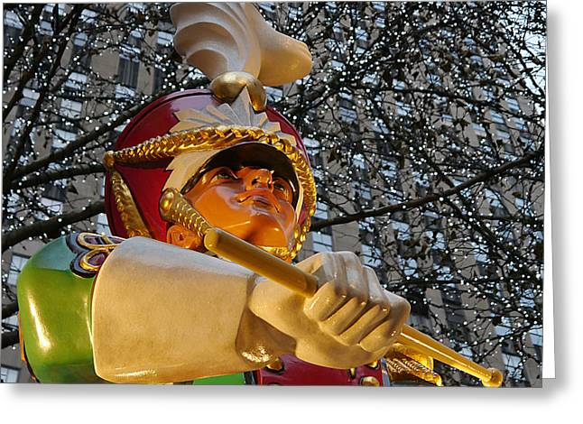 Marching Band Greeting Cards - NYC - Rockerfeller Drummer Greeting Card by Richard Reeve