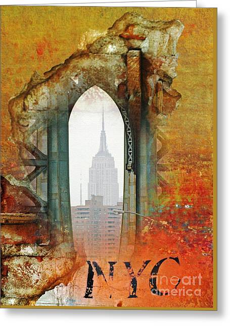 Juvenile Wall Decor Mixed Media Greeting Cards - NYC Empire State Building Abstract Collage Greeting Card by Anahi DeCanio - ArtyZen Studios