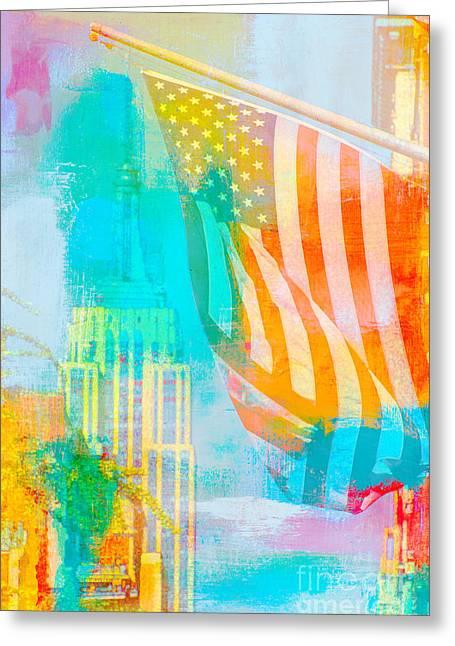 Gotham City Mixed Media Greeting Cards - NYC American Flag Pop Art Greeting Card by ArtyZen Studios - ArtyZen Home