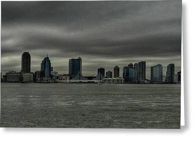 Nyc - Battery Park - Jersey City Greeting Card by Lance Vaughn