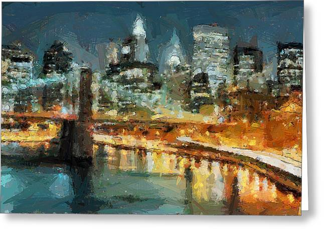 Live Art Greeting Cards - NYC BB in LIghts Greeting Card by Yury Malkov