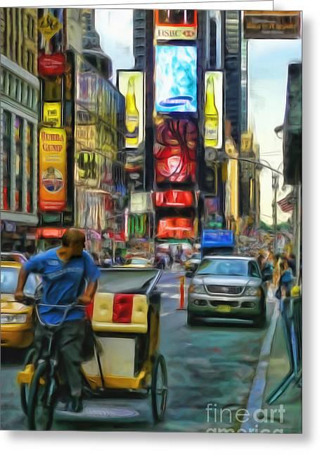 Nyc Bike Taxi Greeting Card by Jeff Breiman