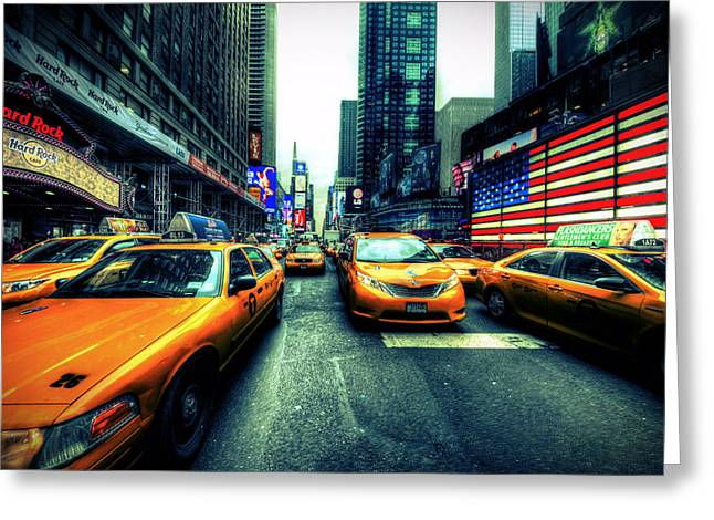 Times Square Pyrography Greeting Cards - NYC Boogie Woogie Greeting Card by Edward Younan