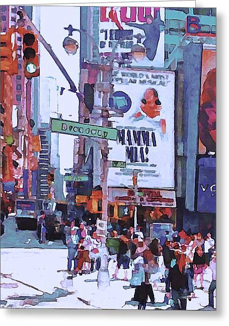 Live Art Greeting Cards - NYC Broadway Greeting Card by Yury Malkov