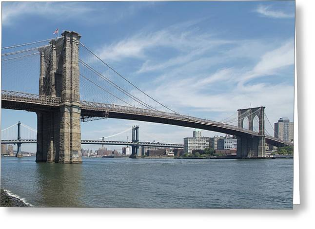 Bridge Greeting Cards - NYC Brooklyn and Manhattan Bridges Greeting Card by Mike McGlothlen