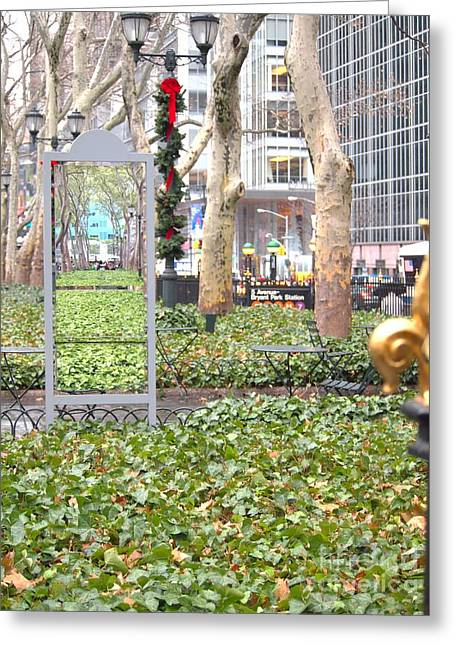 Bryant Greeting Cards - NYC Bryant park Greeting Card by Jennifer Craft