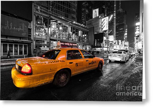 Nyc Cab Times Square Color Popped Greeting Card by John Farnan