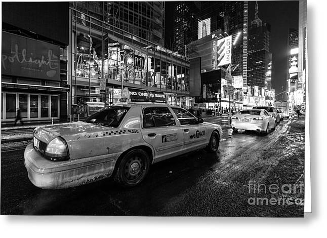 Nyc Winter Greeting Cards - NYC cab times square Greeting Card by John Farnan