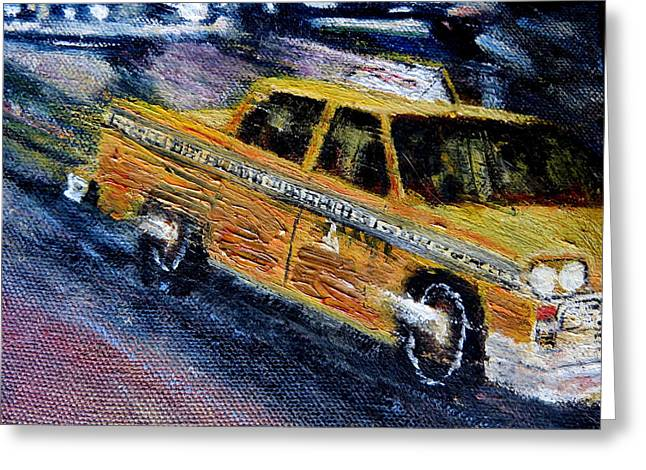 Taxi Stands Greeting Cards - NYC cab Yellow taxi  2 Greeting Card by Daniel Gomez