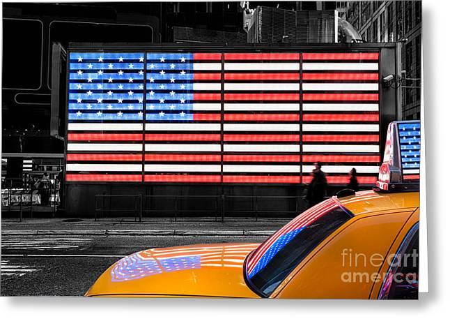 Wow Photographs Greeting Cards - NYC cab yellow times square Greeting Card by John Farnan