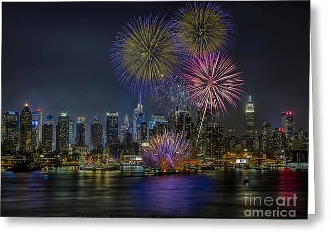 The City That Never Sleeps Greeting Cards - NYC Celebrates Fleet Week Greeting Card by Susan Candelario