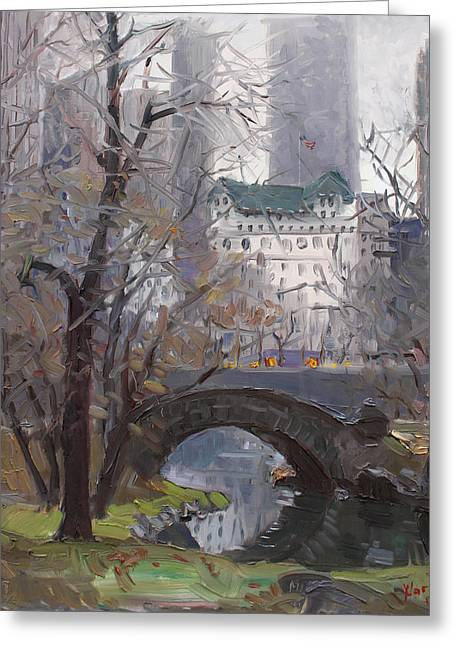 Manhattan Paintings Greeting Cards - NYC Central Park Greeting Card by Ylli Haruni