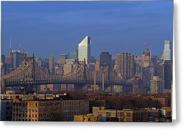 New York Vista Greeting Cards - NYC Citicorp Center and Queensboro Bridge Greeting Card by Juergen Roth