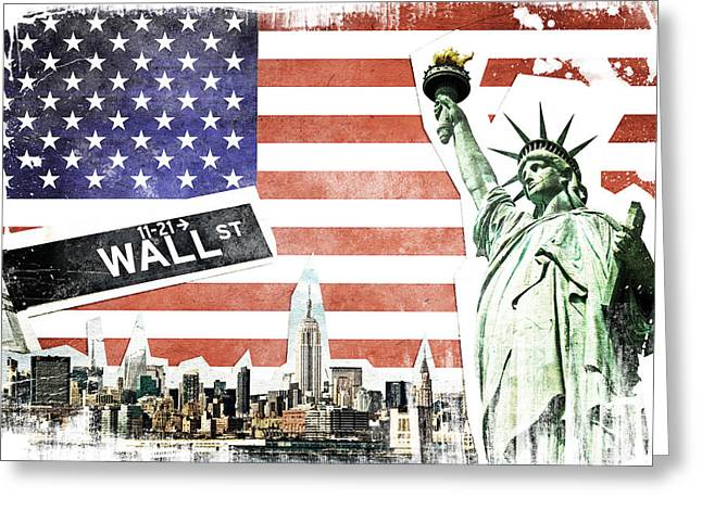 Wall Street Greeting Cards - NYC collage Greeting Card by Delphimages Photo Creations