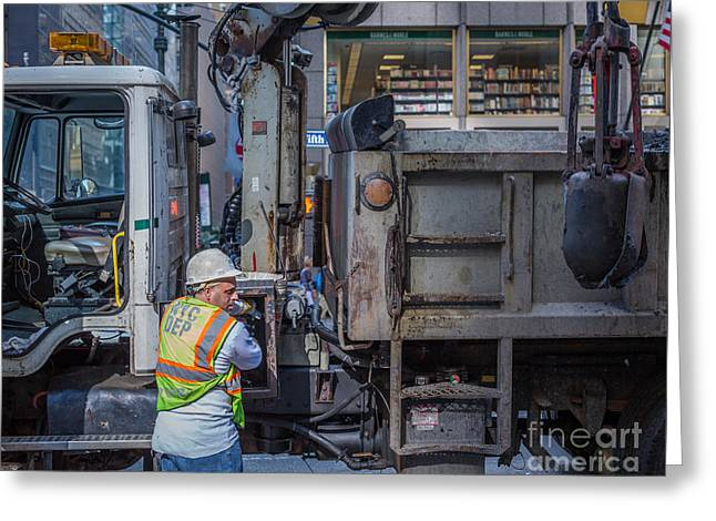 Safety Cones Greeting Cards - NYC construction worker Greeting Card by Stephen Allen