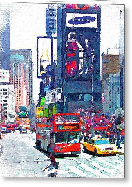 Live Art Greeting Cards - NYC downtown 1 Greeting Card by Yury Malkov