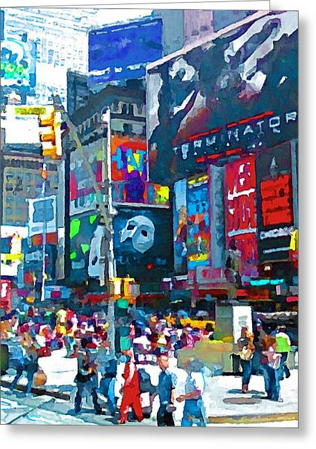 Live Art Greeting Cards - NYC downtown 2 Greeting Card by Yury Malkov
