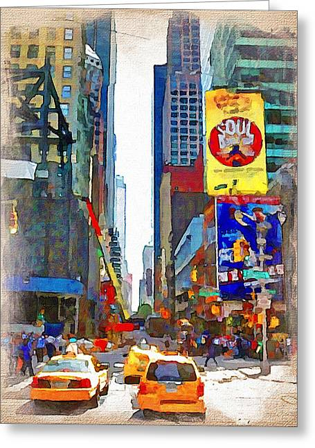 Live Art Greeting Cards - NYC downtown 3 Greeting Card by Yury Malkov