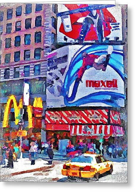 Live Art Greeting Cards - NYC downtown 4 Greeting Card by Yury Malkov
