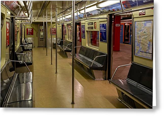 Empire State Greeting Cards - NYC F Subway Train Greeting Card by Susan Candelario