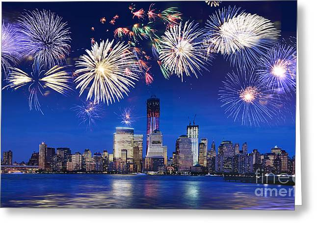 July 4th Greeting Cards - NYC fireworks Greeting Card by Delphimages Photo Creations