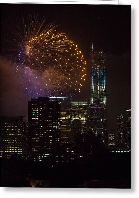 City Lights Pyrography Greeting Cards - NYC Fireworks Greeting Card by Melanie Roberge