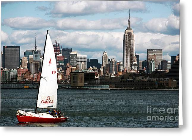 Sailboat Images Greeting Cards - NYC Harbor View Greeting Card by John Rizzuto