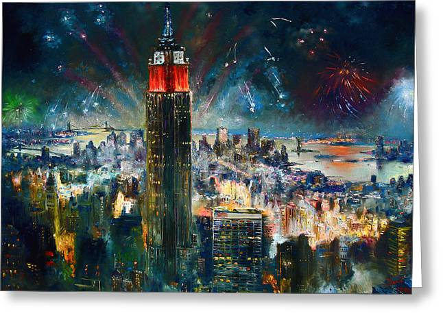 Firework Greeting Cards - NYC in Fourth of July Independence Day Greeting Card by Ylli Haruni