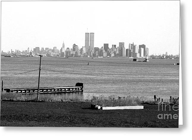 Twin Towers Nyc Greeting Cards - NYC in the Distance 1990s Greeting Card by John Rizzuto