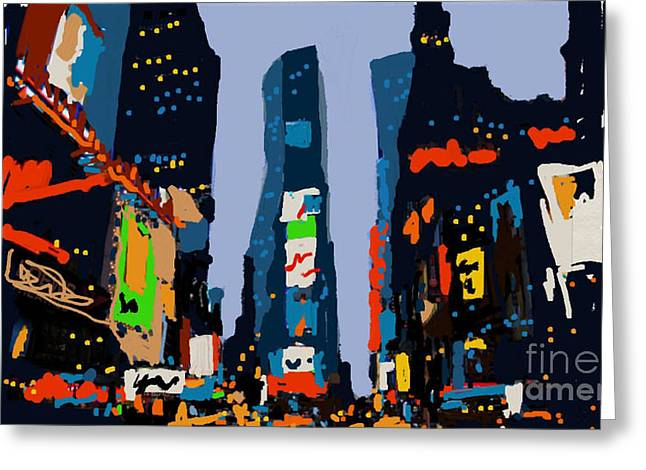 Times Square Digital Art Greeting Cards - Times Square Greeting Card by Jennifer Wu
