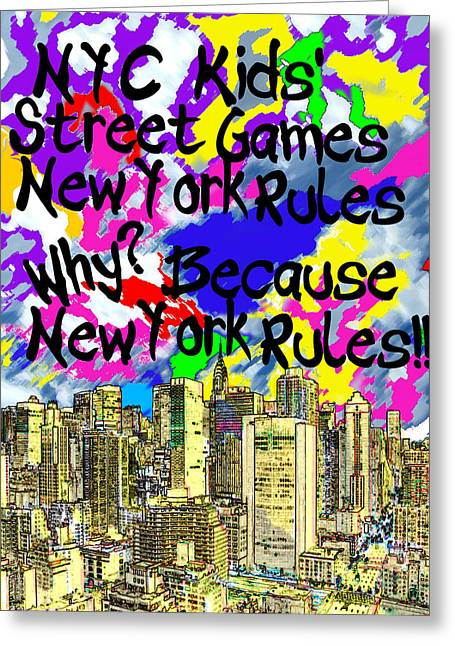 Knicks Greeting Cards - NYC Kids Street Games Poster Greeting Card by Bruce Iorio