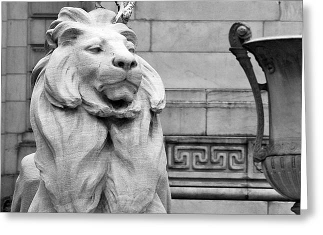 Times Square Digital Art Greeting Cards - NYC Library Lion and Doves Greeting Card by Artyzen Studios
