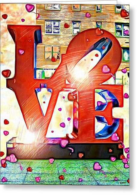 """robert Indiana"" Greeting Cards - NYC LoVE Sculpture Greeting Card by Daniel Janda"