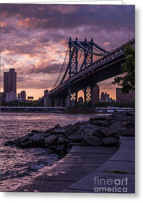 Manhatten Photographs Greeting Cards - NYC- Manhatten Bridge at night Greeting Card by Hannes Cmarits