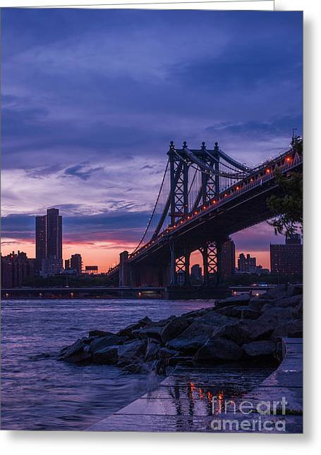 Hannes Cmarits Greeting Cards - NYC - Manhatten Bridge at Night II Greeting Card by Hannes Cmarits