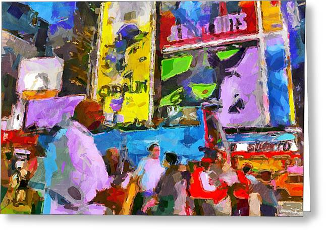 Live Art Greeting Cards - NYC night colours Greeting Card by Yury Malkov