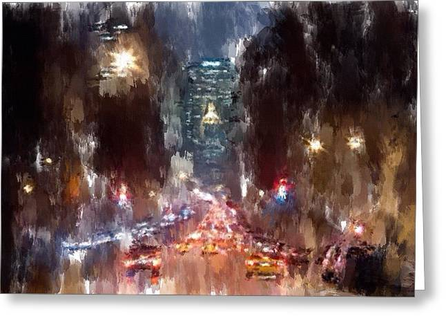 Live Digital Greeting Cards - NYC night traffic Greeting Card by Yury Malkov