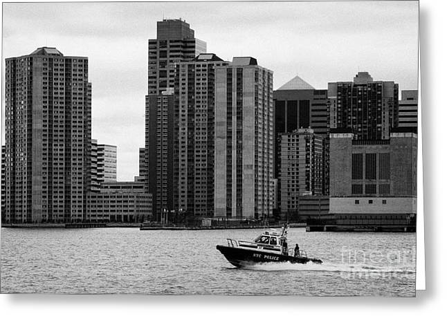 Manhaten Greeting Cards - NYC police river boat going past New Jersey NJ shoreline  Greeting Card by Joe Fox