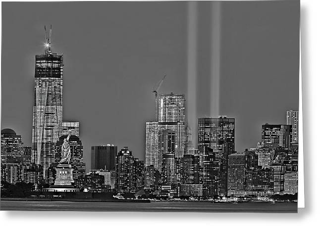 Cityscape Greeting Cards - NYC Remembers September 11 BW Greeting Card by Susan Candelario