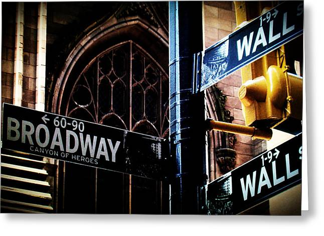 Broadway St Greeting Cards - NYC Signs Greeting Card by Zinvolle Art