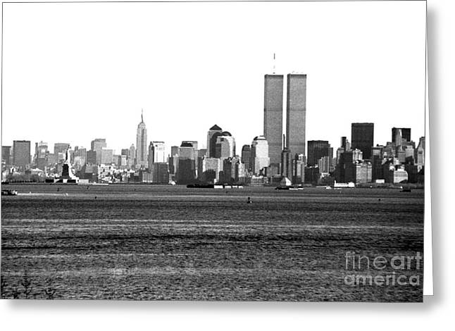 Twin Towers Nyc Greeting Cards - NYC Skyline 1990s Greeting Card by John Rizzuto
